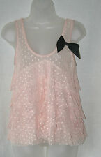 LIPSY (UK8 / EU36) PEACH NET POLKA DOT SHEER TIERED TOP WITH BLACK BOW