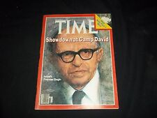 1978 SEPTEMBER 11 TIME MAGAZINE - SHOWDOWN AT CAMP DAVID - FRONT COVER - F 1330