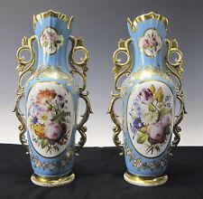 Antique Mid 19th c Vieux Old Paris Hand Painted Gilt Porcelain Mantle Vases yqz