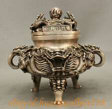 10 Marked Chinese Silver Wealth Dragon Ball Statue Folk Incense Burner Censer