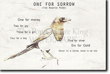 ONE FOR SORROW NURSERY RHYME POSTER PHOTO PRINT ART POEM MAGPIE SONG