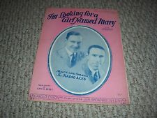 1926 I'm Looking for a Girl Named Mary Macy & Smalley Radio Aces Sheet Music
