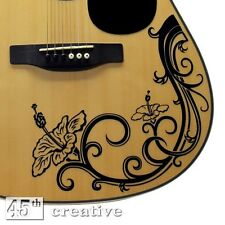 Hibiscus Flower decal  -  full size dreadnought Acoustic Guitar vinyl graphic