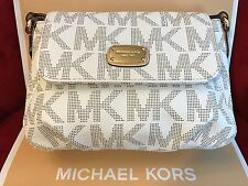 NWT MICHAEL MICHAEL KORS JET SET PVC SMALL FLAP CROSSBODY BAG IN VANILLA