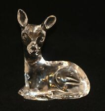 Waterford Irish Crystal Cut Glass Figurine Fawn Deer Seated