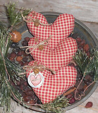 3 Primitive Rustic Country RED LOVE Valentine Hearts Bowl Fillers Ornies Tucks