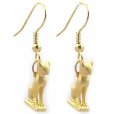 "Gold-Plated Egyptian Goddess Bastet Tiny Cat Earrings Charm 0.50"" Drop 1.25"""