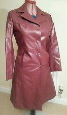 NEW LOOK Womens Maroon Faux LEATHER PU COAT uk14 eu40 us10 Chest c40ins c102cms