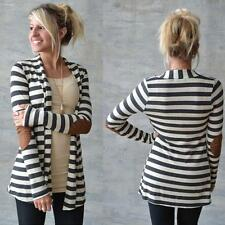 Fashion Women Long Sleeve Striped vintage Cotton Cardigans Patchwork Outwear L+