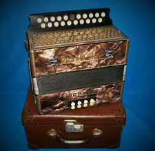 HOHNER ACCORDION DOUBLE-RAY BLACK DOT + CASE  HC EXCELLENT PLAYER GC NO ISSUES