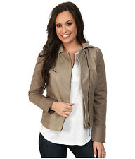 NEW WOMEN'S LUCKY BRAND TAUPE LEATHER MIXED JACKET LARGE