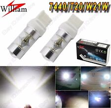 2 Bulbs T20 7440 W21W CREE Chip High Power 80W LED Back up Reverse Light White
