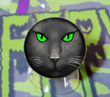 BLACK CAT RING ADJUSTABLE GOTHIC GREEN EYES