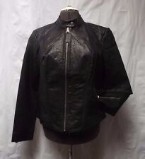 Lucky Brand Black Leather Moto Cafe Racer Jacket XL NWOT Extra Large