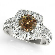 2 Carat Brown Natural Cognac & White Diamond Halo Bridal Ring 14k Gold Classy