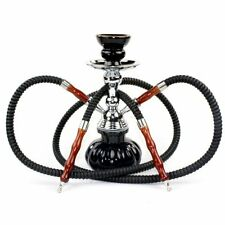 Hookah Hose Set Black Glass Vase Tobacco Bong Smoking Water Pipe Shisha Smoke