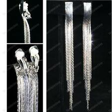 CLIP ON 12cm long EARRINGS liquid silver fashion SNAKE CHAIN CLIPS slinky