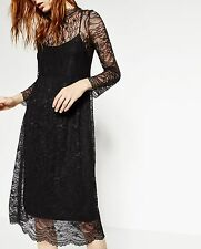BNWT ZARA BLACK LACE VICTORIAN STYLE LINED SLEEVE MIDI DRESS SIZE XS UK 6 8