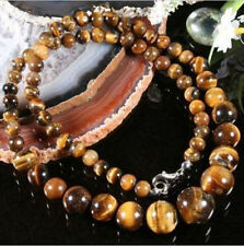 beautiful 6-14MM GENUINE TIGER EYE GEMS STONE ROUND BEADS NECKLACE 18""