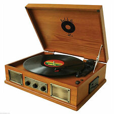 RETRO DESIGN 3-SPEED WOODEN VINYL TURNTABLE RECORD PLAYER USB/SD/MP3/iPOD PLAYER