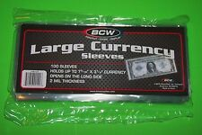 100 BCW LARGE CURRENCY SLEEVES, 2 MIL THICK, FITS UP TO 7-9/16 X 3-1/4 NOTES