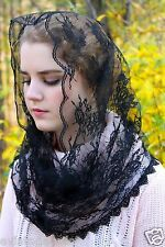 Evintage: Black French Lace  Infinity Style Chapel Veil Mantilla Latin Mass