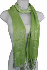 Playful Green Neck Tie Scarf Long Soft Fabric Fun Classic Bright Shiny Statement