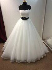 IVORY & BLACK Designer Wedding Bridal Dress HOLLYWOOD DREAMS CLAUDINE Size 12