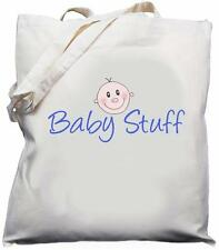 Cosas De Bebé-Natural (Crema) Algodón Bolso para el Hombro-Azul-Bebé Ducha Regalo