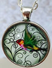 Hummingbird  Necklace Glass Dome Art Pendant Necklace Bird lovers