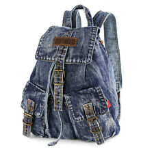 Women's Vintage Style Blue Denim Backpack Outdoor Sport Bag Tote Travel Rucksack