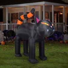 9Ft Halloween Spooky Black Cat Orange Stripe Tail Holiday Airblown Inflatable