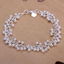 """Unisex Women's 925 Sterling Silver Beads Bracelet 8"""" L9"""