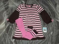 NWT Rabbit Moon Girls 5Y 5T Pink Brown Striped Sweater Dress Tights Clothes Lot