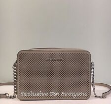 NWT Michael Kors Jet Set Travel LG East West Perforated Crossbody  Cement $178