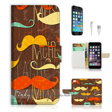 "iPhone 6 (4.7"") Print Flip Wallet Case Cover! Mustache P1422"