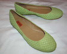MIZ MOOZ PANTHER spring green scale snake skin texture ballet  flats shoes 6 NEW