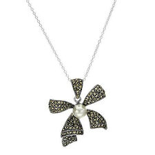 Lovely Bow Necklace With Faux pearl and Marcasite in 925 Sterling silver.