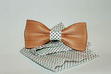 wooden bow tie, solid wooden bowtie, wooden clip-on bow tie, brown wood bow tie