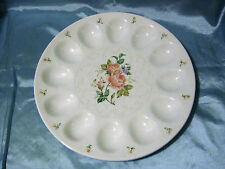 Beautiful Gorham Lady Anne Deviled Egg Dish Platter Plate Pink Rose Pattern