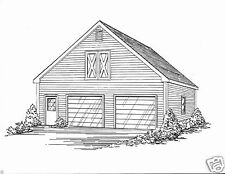 30x32 2 Car Front Gable Garage Building Blueprint Plans with Walk Open Loft Area
