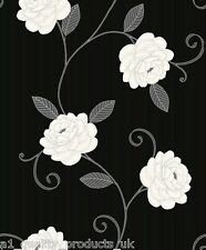 Debona - Wallpaper, Black w/ Cream Flower, Floral Design, Leaf BNIB Puccini 5568