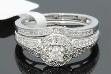 10K WHITE GOLD .48 CARAT WOMENS REAL DIAMOND ENGAGEMENT RING WEDDING BAND SET