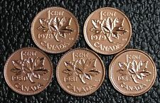 CANADIAN GEM 1 CENT PENNIES - LOT OF 5 - 1978-1982 - Pulled from PL Sets - NCC