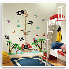 Pirate Height Chart Wall Stickers Monkey Jungle Zoo Tree Nursery Baby Bedroom