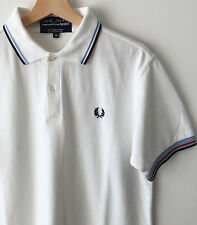 FRED PERRY x COMME DES GARCONS WHITE CLASSIC TWIN TIPPED POLO SHIRT M mod weller
