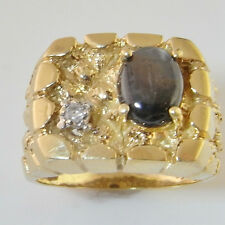 Natural Black Star Sapphire Diamond Ring 14K Gold Cabochon Signet Seal R2071