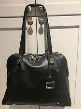 Innue HANDBAG black Italian GLOVE Leather Satchel LARGE  ITALY