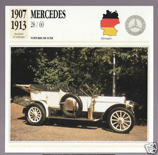 1907-1913 Mercedes 28/60 (Benz) German Car Photo Spec Sheet Info French Card