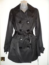 bebe M Trench Coat Jacket Black Long Collared Button Down Belted Spring Winter